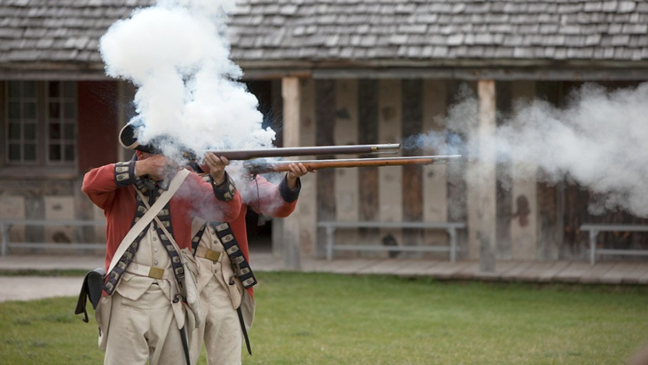 Gunfire at Fort Michilimackinac in Mackinaw City, Michigan