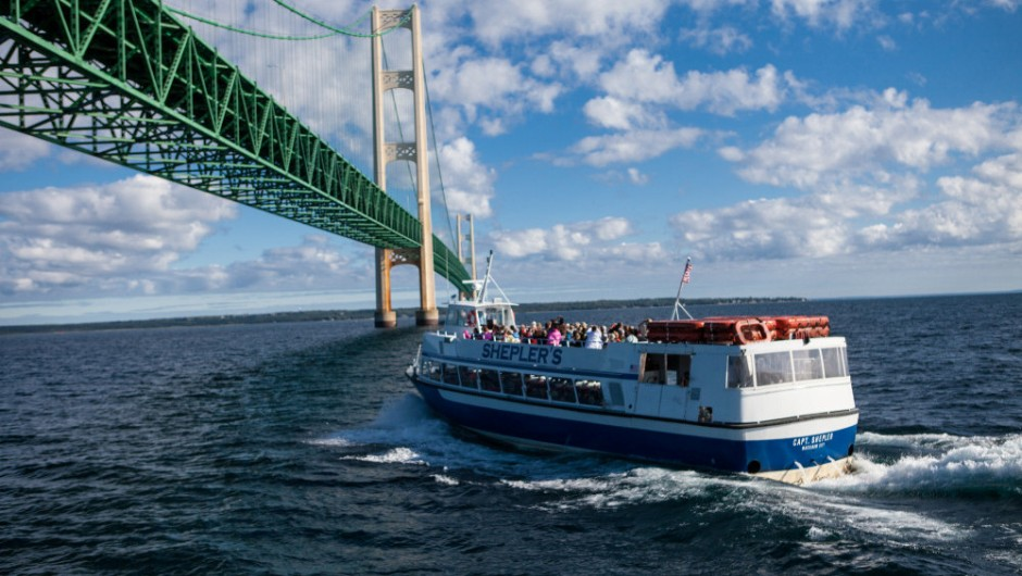Shepler's Ferry during a Mighty Mac Departure under the Mackinac Bridge